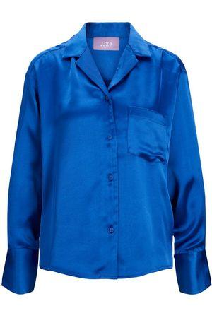 JACK & JONES Mænd Langærmede skjorter - Jxeva Satin Skjorte Kvinder Blue; Brown