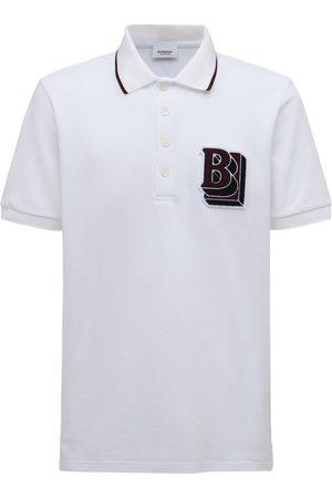 Burberry B Logo Patch Cotton Pique Polo