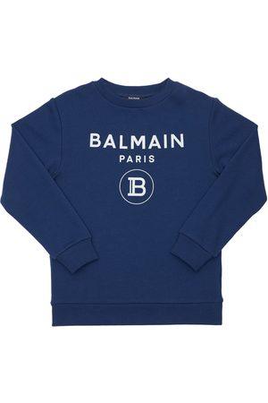 Balmain Piger Sweatshirts - Logo Print Cotton Sweatshirt