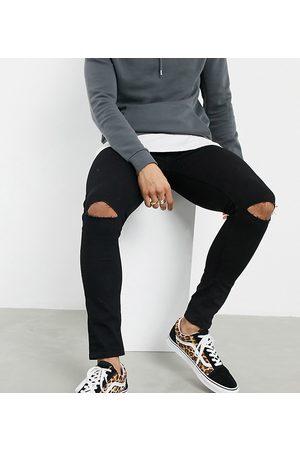 ASOS Mænd Skinny - Sorte spray-on jeans i denim med power-stretch og flænger på knæene