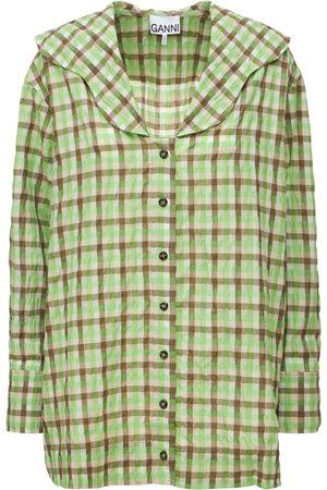 GANNI Seersucker Check V-neck Shirt