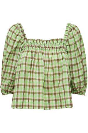 GANNI Kvinder Toppe - Seersucker Check Cotton Blend Top