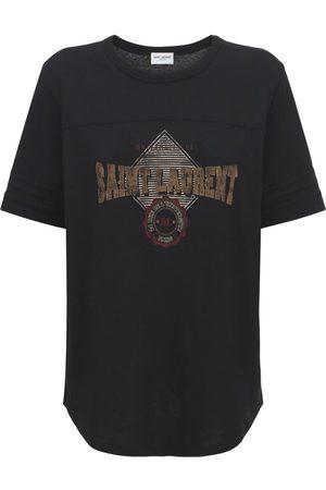 SAINT LAURENT Printed Cotton Round Neck T-shirt