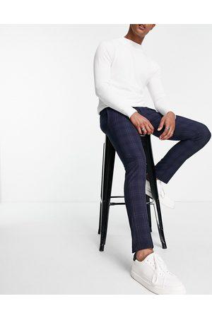 River Island Mænd Chinos - Marineblå skinny-bukser med tern