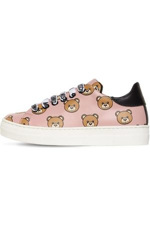 Moschino All Over Bear Lace-up Leather Sneakers