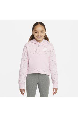 Nike Sportswear-hættetrøje i fleece med print til større børn (piger)