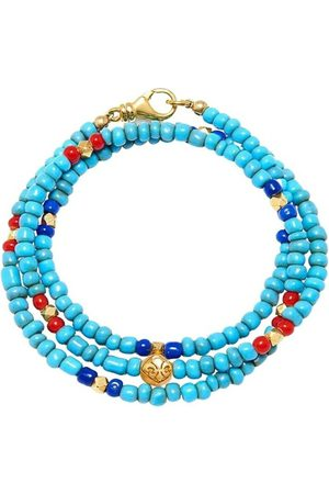 Nialaya The Mykonos Collection - Vintage Turquoise, Red, and Blue Glass Beads