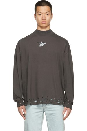 We11 Done Distressed WD Logo Long Sleeve T-Shirt