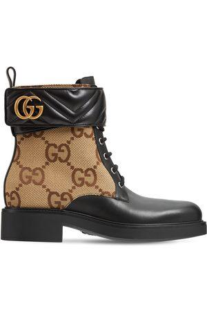 Gucci Kvinder Ankelstøvler - 40mm Marmont Canvas & Leather Ankle Boot