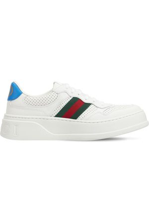 Gucci 50mm Chunky B Leather Sneakers W/ Web