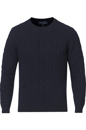 Brooks Brothers Mænd Strik - Lambswool Cable Crew Neck Navy