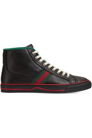 Gucci Mænd Sneakers - Web Leather High Top Tennis Sneakers