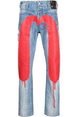 Evisu Stenvaskede jeans med malet logo