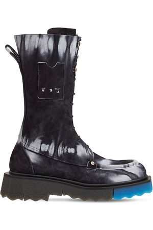 OFF-WHITE 40mm Tie Dye Leather Combat Boots