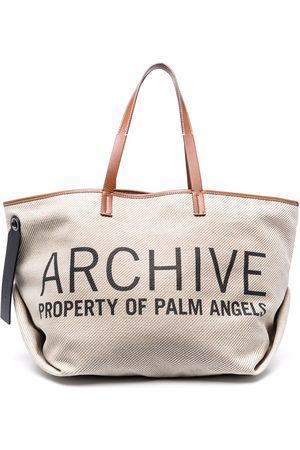 Palm Angels L ARCHIVE CABAS BAG OFF WHITE BLACK