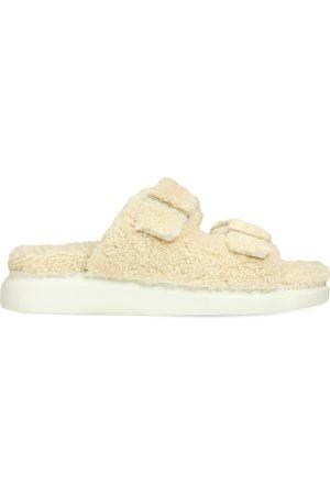 Alexander McQueen 50mm Shearling Slide Sandals