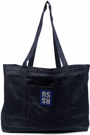 RAF SIMONS Logo patch denim tote bag