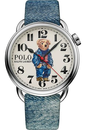 Polo Ralph Lauren Mænd Ure - 42mm Automatic Denim Flag Bear Steel With White Dial