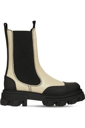 Ganni 45mm Leather Combat Boots