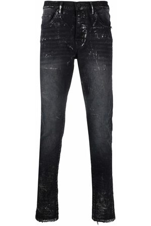 Purple Brand Paint splatter-print skinny-cut jeans
