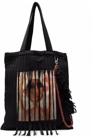 SONG FOR THE MUTE Painterly-print tassel tote bag