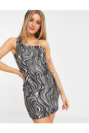 Miss Selfridge Bodycon-minikjole med én skulder og zebraprint-Multifarvet