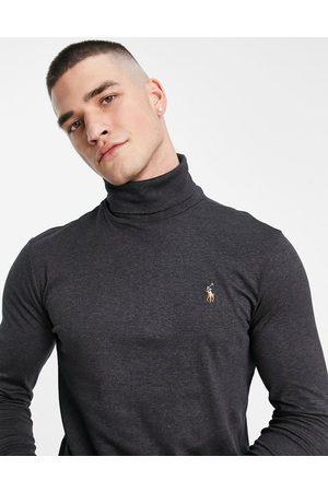 Polo Ralph Lauren Langærmet T-shirt i mørk gråmelering med rullekrave og ikonlogo