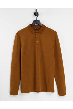 ASOS Langærmet polo-T-shirt i gyldenbrun med tekstur