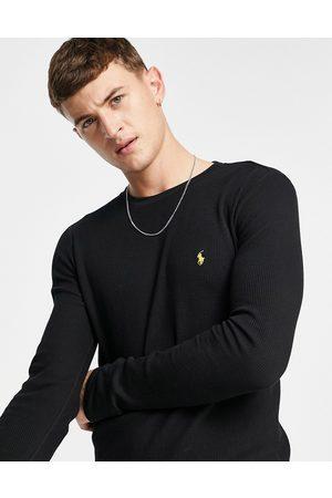 Polo Ralph Lauren Vaflet langærmet T-shirt med guldfarvet hestelogo