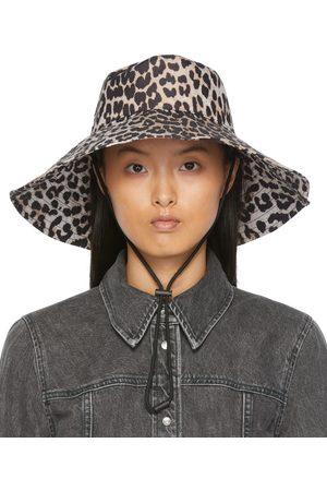 Ganni Kvinder Hatte - Beige & Black Recycled Tech Beach Hat