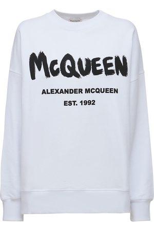 Alexander McQueen Cotton Jersey Logo Graffiti Sweatshirt