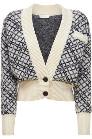 Saint Laurent Wool Jacquard Button Cardigan